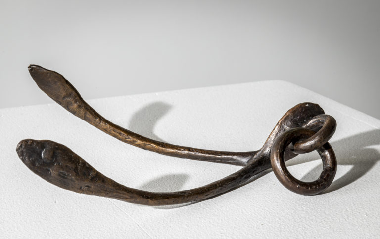 Bronze wishbone sculpture by Fiona Garlick