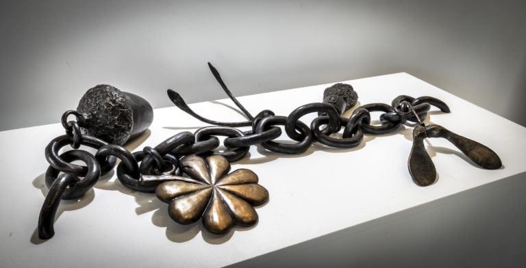 Giant Charm Bracelet(2020) bronze sculpture by Fiona Garlick